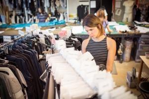 Erika Rekis picks out fabrics at the Lululemon Lab. (Photo: Laura Scotten)