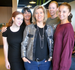 Designer Karyn Chopik with her jewelry-making crew at Chopik's studio. (Photo: Sierra Jones)